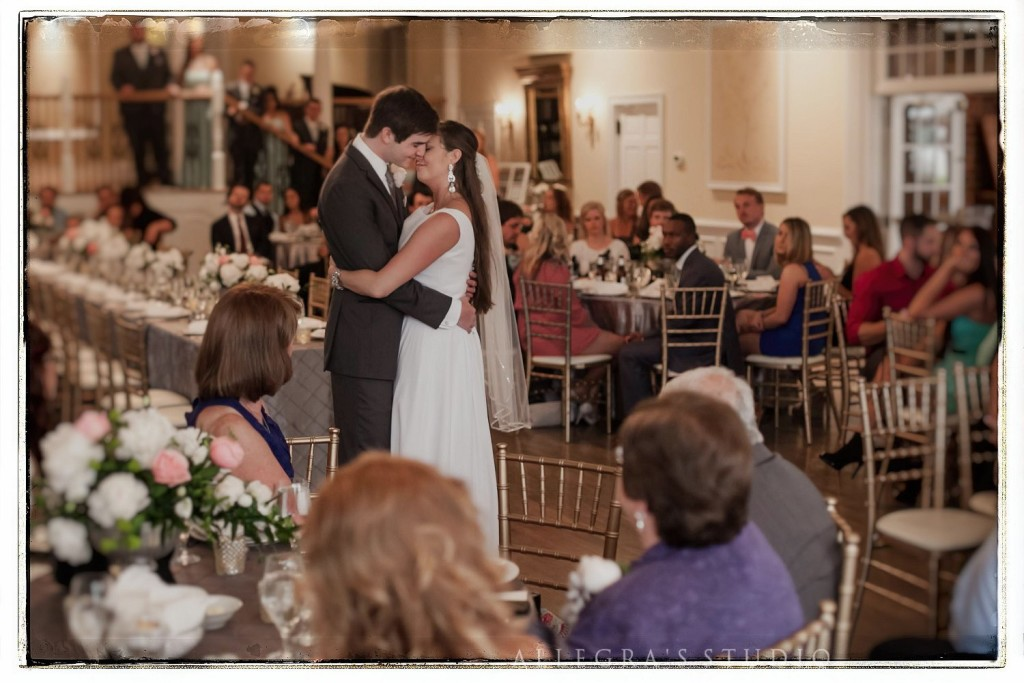 Bride and groom's first dance at west manor