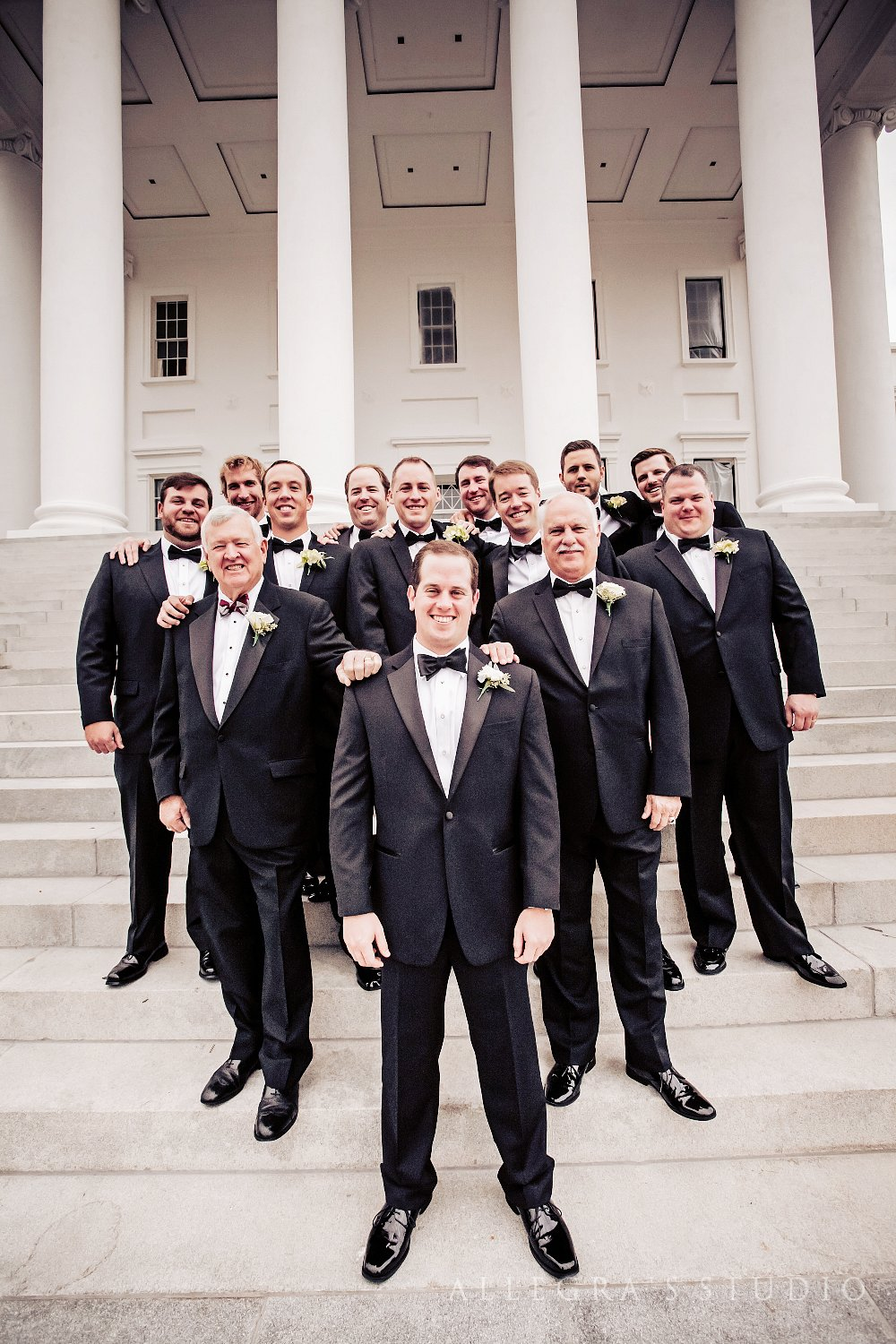 Groom and groomsmen at Richmond State Capitol building