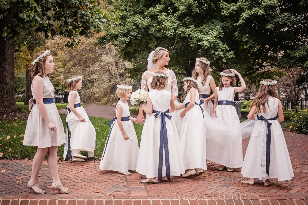 Bride and flower girls at the state capital