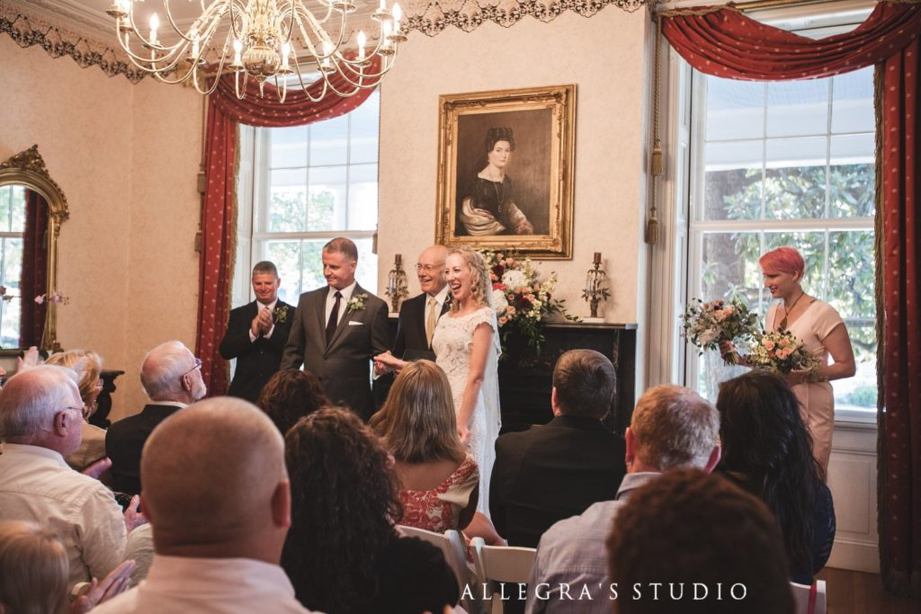 wedding ceremony in avenel wedding parlor