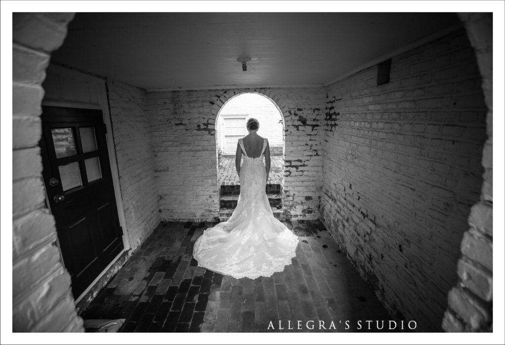 Lace wedding dress and bricks