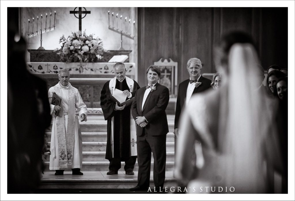 Grooms first look as bride walks down the aisle at Reveille UMC