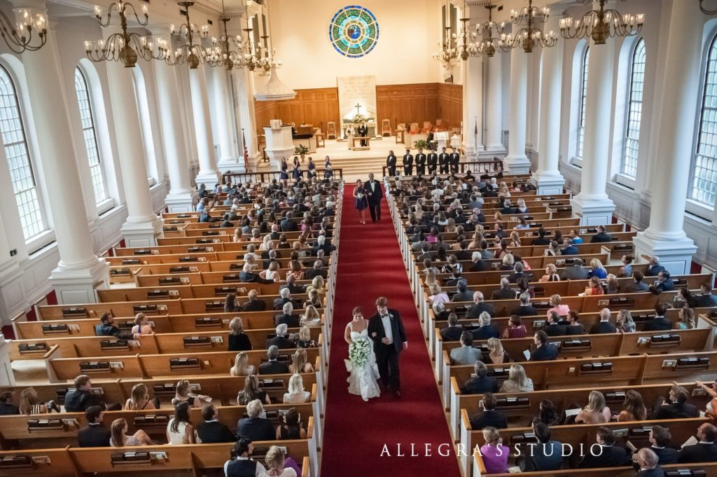 Bride and groom recess down the aisle at Reveille UMC