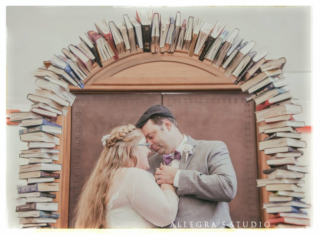 wedding arch made out of books