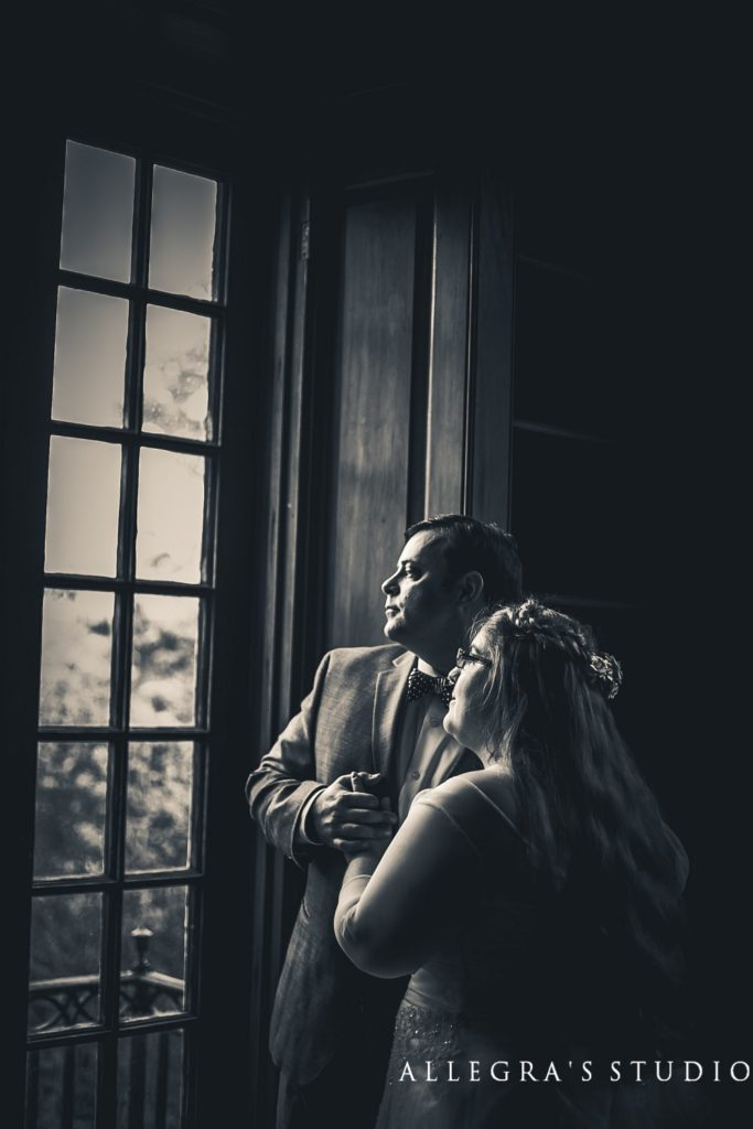 wedding couple in sweet briar library