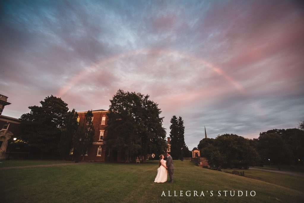 rainbow over wedding couple at sweet briar college