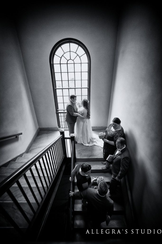 wedding party and couple at sweet briar college