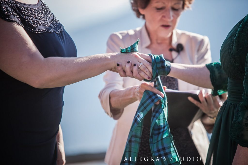 Plaid used for hand-fasting at Wintergreen wedding