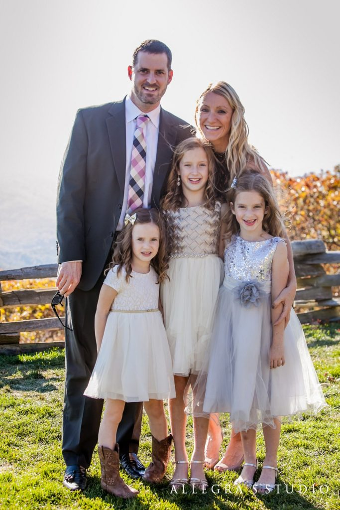 Family portrait at Wintergreen Overlook at a wedding