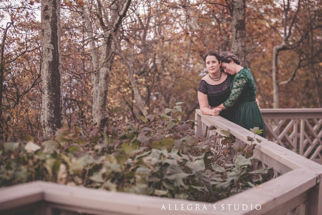 Quiet moment at Wintergreen wedding with two brides