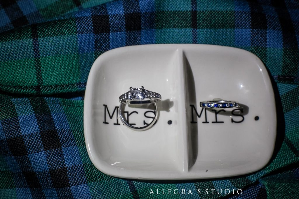 mrs and mrs rings on scottish plaid for Wintergreen wedding